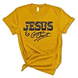 Jesus and George Strait Funny Letter Printed Cute Graphic Blouse Tee (Yellow, M)