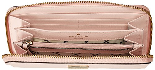 51 iN5s2O1L Leather wallet with zip around closure and gold tone hardware Raised engraved Kate Spade name plate on front Full length slip pocket on back