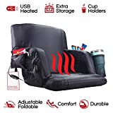 The Hot Seat - Heated Stadium Bleacher Seat -Reclining Back and Arm Support -Thick Cushion -4 Storage Pockets Plus Cup Holder- Extra Wide Feature - Battery Pack Not Included