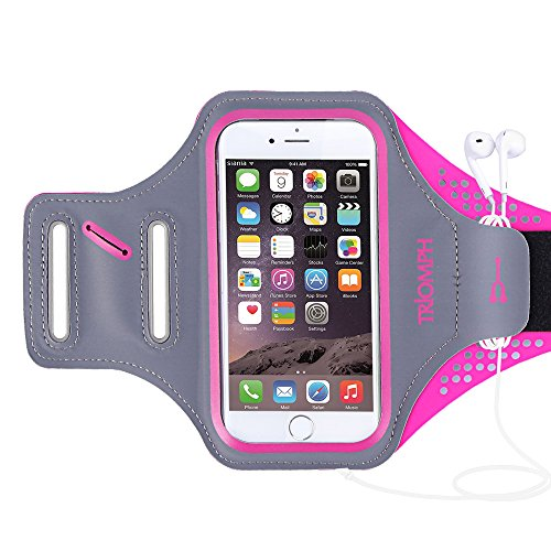Triomph Armband for iPhone 8, 7, 6, 6S, SE, 5, 5C, 5S iPod Galaxy S6, S6 Edge S5 with Screen Protecter and Key Cards Money Holder, for Running, Workouts, Jogging, Hiking, Biking, Walking (Rose 5')