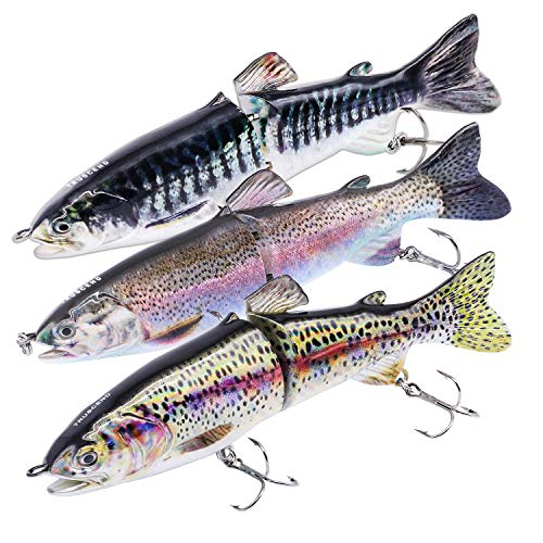 TRUSCEND Fishing Lures for Bass 4.9' Trout Multi Jointed Swimbaits Slow Sinking Hard Lure Fishing Tackle Kits Lifelike Ice Fishing Augers (D-J2E-combo)