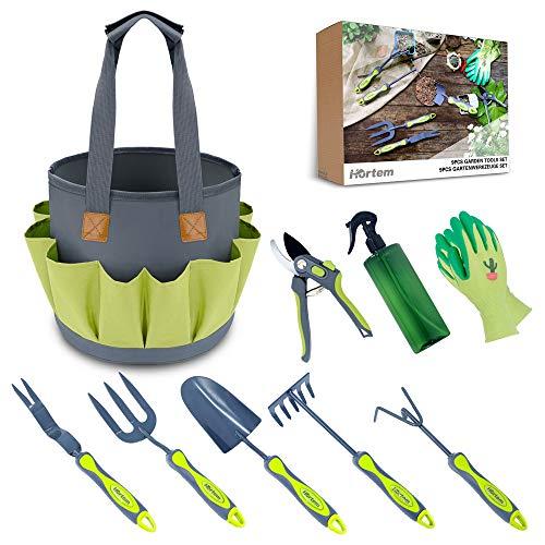 Hortem Garden Tools for Women Men, 9 Piece Heavy Duty Gardening Tools Set Include Hand Tools Kits and Pruners, Sprinking Can, Garden Glove and Garden Bag as Best Gardening Gifts