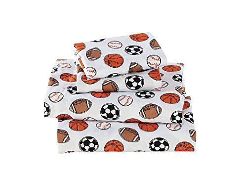 Fancy Linen 4 pc Full Size Sheet Set Sport Kids Teens Baseball Basketball Football Soccer White Black Orange Brown Set New