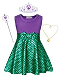 HenzWorld Little Mermaid Ariel Costume Dress Girls Princess Halloween Jewelry Accessories Birthday Party Cosplay Outfit 2-3 Years