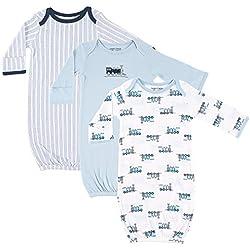 Luvable Friends Unisex Baby Cotton Gowns, Trains 3-Pack, 0-6 Months