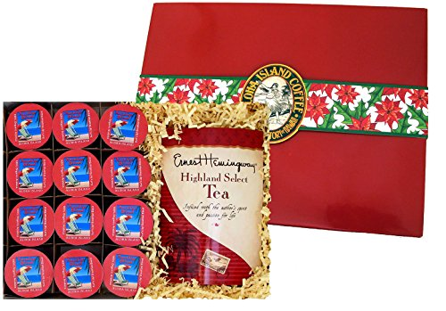 Single-serve Cups and Tea Gourmet Coffee Gift for Christmas, Mothers Day, Fathers Day, Birthdays and All Occasions, 12 Single-serve Cups of Organic Breakfast Blend and Gourmet Tea in Gift Presentation