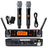 STARAUDIO 2 Channel Wireless UHF Microphone Set With 2CH UHF Handheld Microphones Cordless Mic set, Long Distance For PA,DJ,Clubs,Audio,Stage,KTV,Karaoke,Church,Wedding,Home Party Mics System SMU0220A