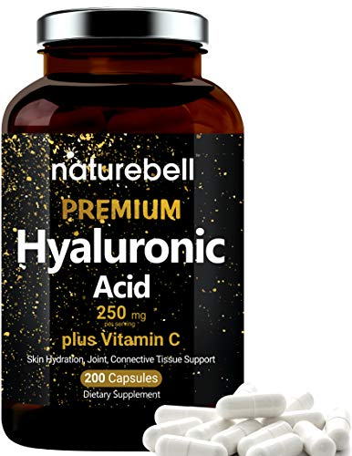 NatureBell Hyaluronic Acid Supplements, 250mg Hyaluronic Acid with 25mg Vitamin C Per Serving, 200 Capsules, Supports Skin Hydration, Joints Lubrication and Antioxidant. No GMOs and Made in USA.