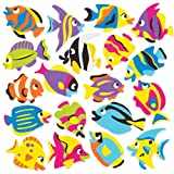 Baker Ross Tropical Fish Foam Stickers (Pack of 120) Aquatic Themed Puffy Scrapbook Stickers in Fun Foam Shapes