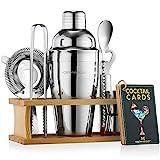 Mixology Bartender Kit with Stand | Bar Set Cocktail Shaker Set for Drink Mixing - Bar Tools: Martini Shaker, Jigger, Strainer, Bar Mixer Spoon, Tongs, Bottle Opener | Best Bartender Kit for Beginners