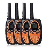 Floureon 22 Channel FRS/GMRS 2 Way Radio Up to 3000M/1.9MI Range (MAX 5000M/3.1MI) UHF Handheld Walkie Talkie (Pack of 4, Black Orange)