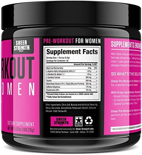 Pre Workout for Women with L Arginine (v2) - Energy, Stamina, Healthy Weight Loss | Non-GMO & Non-Habit-Forming | Nitric Oxide Booster Powder Supplement - Sheer Strength Labs, 30 Servings 2