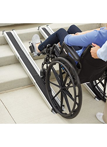 DMI Portable Wheelchair Ramp, Adjustable Telescoping Retractable Lightweight Wheelchair Ramp, Adjustable Length From 3 to 5 Feet, 4.5 Inch Inside Width