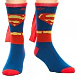 DC Comics Men's Superman Costume Crew Sock With Cape, Blue, One Size