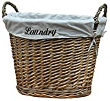 Vintiquewise(TM) Wicker Laundry Basket with Liner, White