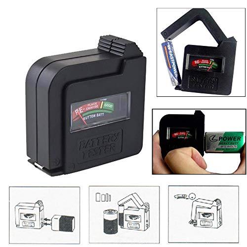 Battery Tester,Universal Battery Checker Meter,Multi Purpose Household Battery Load Tester Checker for AA/AAA/C/D/9V/1.5V Small Button Cell Batteries 12 V Lantern Cells & More (Black)