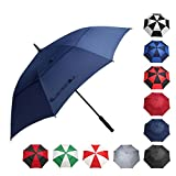 BAGAIL Golf Umbrella 68/62/58 Inch Large Oversize Double Canopy Vented Windproof Waterproof Automatic Open Stick Umbrellas for Men and Women (Double Navy, 62 inch)