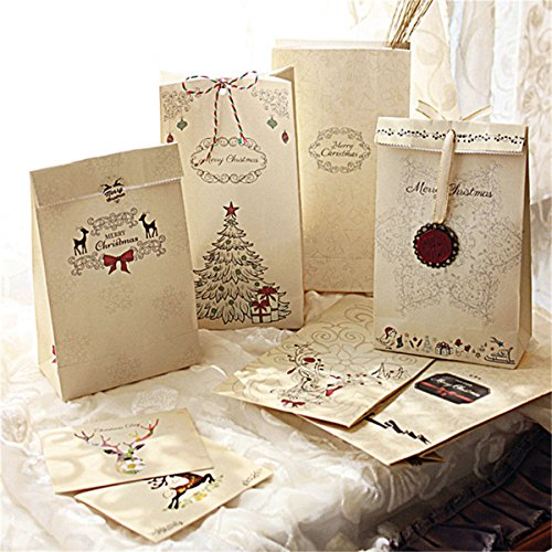 Christmas Gift Bags Bulk.Caveen 8 Pack Christmas Gift Bags Bulk Holiday Gift Kraft Paper Gift Bag For Xmas Birthday Anniversary Activity