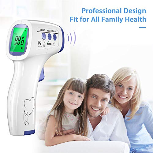 LPOW Forehead Thermometer for Adults, The Non Contact Infrared Baby Thermometer for Fever, Body Thermometer and Surface Thermometer 2 in 1 Dual Mode Medical Thermometer