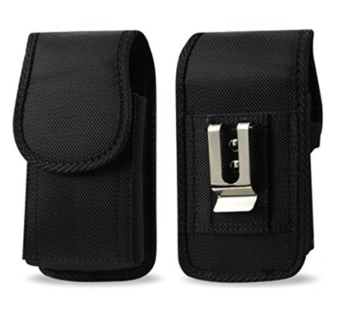 Agoz Carrying Case for LG Aristo 3, LG Aristo 2, LG Aristo, LG K8, K8V, Fortune 2, Treasure LTE, Heavy Duty Rugged Canvas Vertical Holster Pouch Cover with Strong Metal Clip Belt Loops