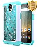 NageBee [Hybrid Protective] Soft Cover [Studded Rhinestone Bling] Diamond Case with [Tempered Glass Screen Protector] for ZTE Maven 3 (Z835 AT&T), ZTE Overture 3, ZTE Prelude Plus Case(4G LTE) -Plum