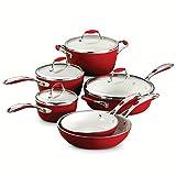 Tramontina 80110/202DS Gourmet Ceramica Deluxe Cookware Set, PFOA- PTFE- Lead and Cadmium-Free Ceramic Exterior & Interior, 10-Piece, Metallic Red, Made in Italy