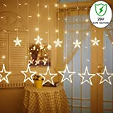 slashome Star Curtain Lights, 8 Modes, 29V, with 12 Stars 138pcs LED Waterproof Linkable Curtain String Lights, Warm White String Light for Christmas/Halloween/Wedding/Party Backdrop, UL Listed