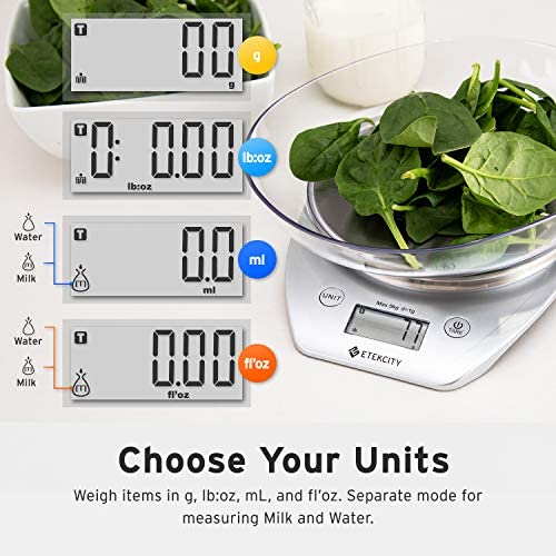 Etekcity Food Scale with Bowl, Digital Kitchen Weight Grams and Ounces for Cooking and Baking, 1g Increment, Large LCD Display, Silver/Stainless Steel 4
