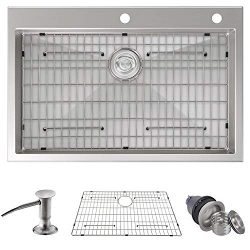 "MOWA HTS3322 Pro Series Handmade 33"" 16 Gauge Stainless Steel Topmount Drop-in Kitchen Sink - Upgraded Perfect Drainage, 9-Gauge Thick Rim & Deep Basin Sink w/Basket Drain Assembly & Sink Bottom Grid"
