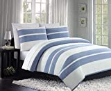 Tahari 3pc King Duvet Cover Set w Shams Retro Pattern Wide Blue and Cream Textured Stripes 100% Cotton Luxury