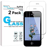 KATIN iPhone 4 4S Screen Protector - [2-Pack] for Apple iPhone 4S / iPhone 4 Tempered Glass Easy to Install Bubble Free 9H Hardness with Lifetime Replacement Warranty