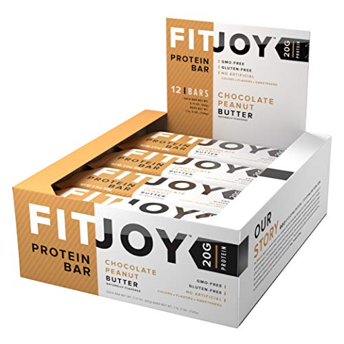 FitJoy Protein Bar, Gluten Free, Low Sugar, High Protein Snack, Chocolate Peanut Butter, Pack of 12 Bars