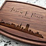 City Skyline Personalized Cutting Board - Engraved Cutting Board, Custom Cutting Board, Wedding Gift, Housewarming Gift, Anniversary Gift, Engagement W-050GB