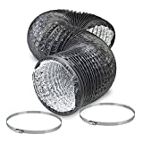 10' Air Duct - 8 FT Long, Black Flexible Ducting with 2 Clamps, 4 Layer HVAC Ventilation Air Hose - Great for Grow Tents, Dryer Rooms, House Vent Register Lines