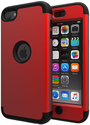 iPod Touch 6 Case,iPod Touch 5 Case,SLMY(TM) High Impact Heavy Duty Shockproof Full-Body Protective Case with Dual Layer Hard PC+ Soft Silicone for Apple iPod Touch 6th/5th Generation Red/Black