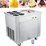 Happybuy Commercial Ice Roll Maker 740W Fried Yogurt Cream Machine Perfect for Bars/Cafes/Dessert Shops, 13.7' Diameter, Single Pan