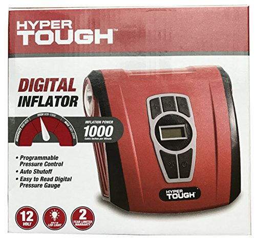 Hyper Tough Digital Tire Inflator Power 1000 CIPM Portable 12 Volt DC Power w/ LED Light