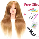 Liyate Mannequin Head with Stand Mix with 60% Human Hair 22'-24' inch Training Head Cosmetology Doll Head for Styling Braiding Practice (Table Clamp Holder and Accessories Included) (27#)