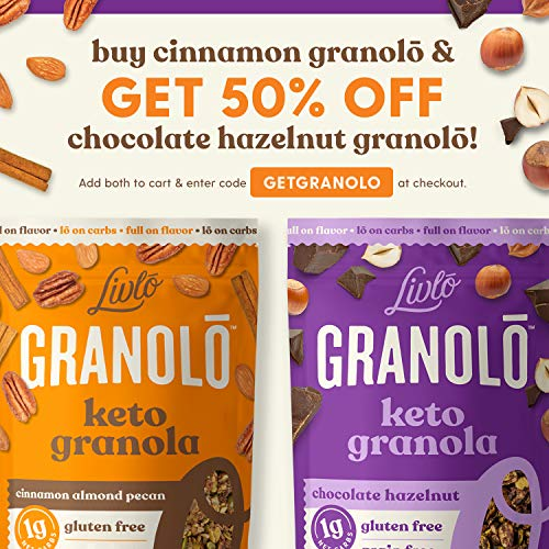Livlo Keto Nut Granola Cereal - 1g Net Carbs - Grain Free & Gluten Free - Perfect Keto Friendly Low Carb Healthy Snack - Paleo & Diabetic Friendly Food - Cinnamon Almond Pecan, 11oz 7