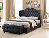 Kings Brand Furniture - Black Tufted Design Faux Leather King Size Upholstered Platform Bed