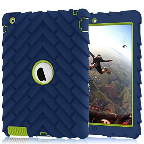 iPad 4 Case,iPad 2 Case,iPad 3 Case, Heavy Duty Shock-Absorption Three Layer Armor Defender Protective Case for iPad 2/iPad 3/iPad 4 (NavyBlue+Green)