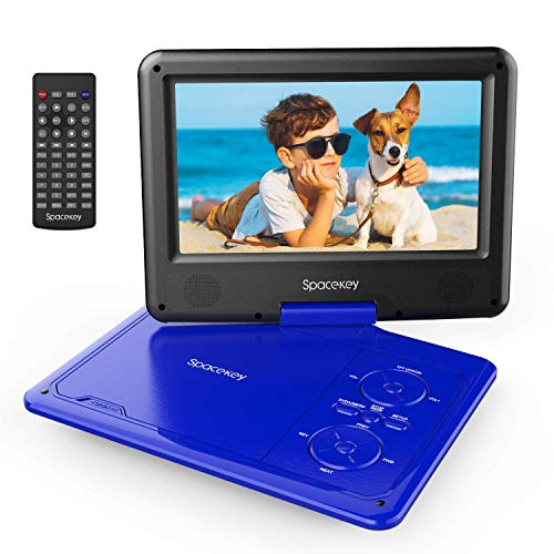 Portable DVD Player 9' with 5 Hours Rechargeable Battery by SPACEKEY, Swivel Screen, Support USB/SD Slot and 1.8M Car Charger, Support Memory and Region Free (Blue)
