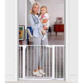 """Cumbor Extra Wide Baby Gate - A New Level of Comfort【New Design】""""Ergonomically Designed"""" Door Lock for fast and smooth opening!!【Auto-Close】Automatically close after a push under 90°, making it more convenient. (Open past 90° to stay open.)【Safe &am..."""