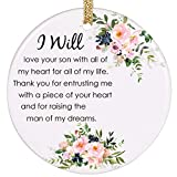PrJoyint Wedding Ornament Gift for Mother of The Groom Future Mother in Law - I Will Love Your Son with All of My Heart for All of My Life
