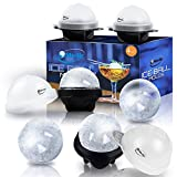 Unique Ice Ball Maker Sphere Mold - 4 Pack - Round Ice Cube Molds - Make Large 2.5-inch Ice Cube Balls for Whiskey - Lightweight, Flexible & Durable Spherical Silicone Ice Tray- Black