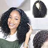 ORIGINAL QUEEN Jerry Curly Lace Front Wig With Pre Plucked Hairline 13X4 Lace Frontal Wigs Deep Curly Human Hair Wigs Natural Color (14 inches)