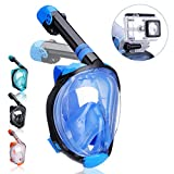 QingSong Upgraded Version Full Face Snorkel Mask with Advanced Safety Breathing System, Give You A Natural & Safe Snorkeling Experience, Foldable 180 Panoramic Snorkel Set for Adults & Youth