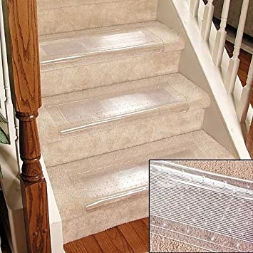 Clear Stair Treads Carpet Protectors Set Of 2 Staircase Step   Rugs For Stairs Cheap   Carpet   Elegant   Light Grey   Persian   White