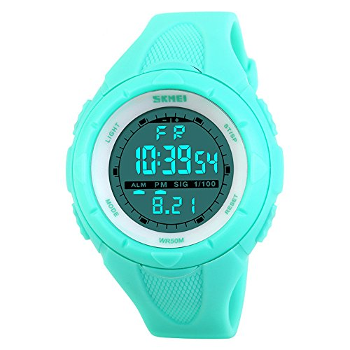 SKMEI Student Digital Wrist Watch Waterproof LED Backlight PU Leather Sports Watches Small for Boys Girls (Blue)