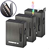 20PCS Automatic Ejection Cigarette Case with Rechargeable Electric Arc Lighter Windproof Flameless USB Lighter Box Holder Perfect Gift for Men and Your Friends